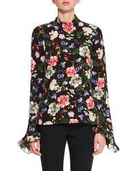 Erdem - Lindsey Floral-print Mock-neck Top - Lyst