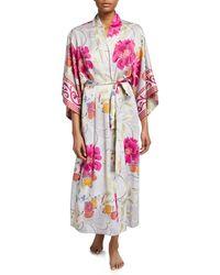 Natori - Auburn Floral Long Satin Robe - Lyst
