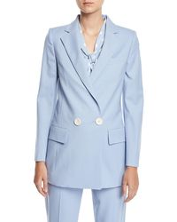 Oscar de la Renta - Double-breasted Stretch-wool Jacket - Lyst