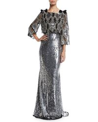 Badgley Mischka - Allover Beaded Popover Paillette Evening Gown W/ Bow Details - Lyst