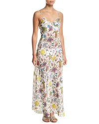 Diane von Furstenberg - Sleeveless Floral-print Bias-cut Coverup Slip Dress - Lyst