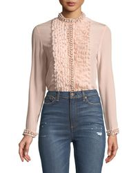 Alice + Olivia - Arminda Button-down Ruffled Chiffon Blouse W/ Pearlescent Trim - Lyst