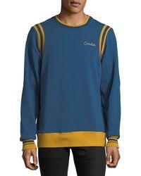 Ovadia And Sons - Men's Striped-trim Varsity Sweatshirt - Lyst