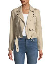 Theory - Shrunken Integrate Linen Moto Jacket - Lyst