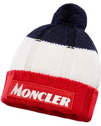 233f992bc942f6 Moncler Cableknit Beanie Hat in Blue for Men - Lyst