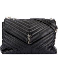 345d6a18d37 Saint Laurent - Loulou Monogram Ysl Large V-flap Chain Shoulder Bag -  Nickel Oxide