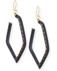 Ashley Pittman - Awali Studded Dark Horn Hoop Earrings - Lyst