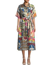 Chufy - Wild-print Short-sleeve Button-front Linen Safari Dress - Lyst
