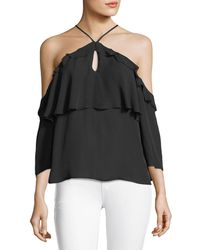 PAIGE - Luciana Halter Off-the-shoulder Ruffled Silk Blouse - Lyst