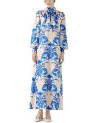Gucci - Dragon & Pineapple Long Silk Dress - Lyst