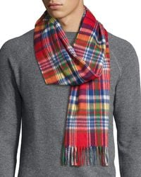 Begg & Co - Langley Plaid Lambswool-angora Scarf - Lyst