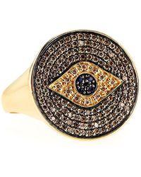Sydney Evan - Pave Diamond & Sapphire Evil Eye Ring - Lyst