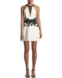 Halston - Halter Mini Dress W/ Floral Embroidery - Lyst