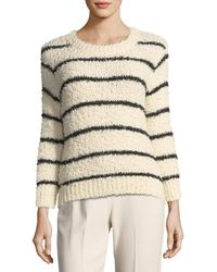 Vince - Fuzzy Striped Knit Crewneck Jumper - Lyst