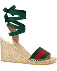 563af06a5f Lyst - Gucci Lia Metallic Leather Espadrille Wedges in Metallic