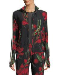 Norma Kamali - Rose-print Side-stripe Turtle Athletic Jacket - Lyst
