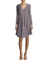 Rebecca Taylor - Lavish V-neck Long-sleeve Dress - Lyst