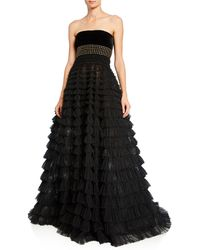 J. Mendel - Strapless Studded Tiered Tulle Gown - Lyst