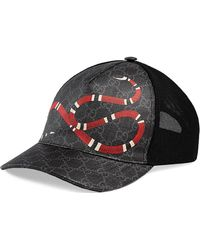 94057b5b9d8 Lyst - Gucci Snake Embossed Leather Baseball Hat in Black for Men