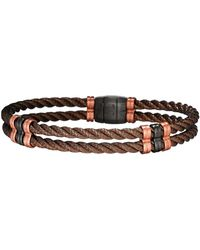 Jan Leslie - Men's Bronze 925 Sterling Silver Double-cable Bracelet - Lyst