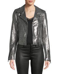 Nour Hammour - Metallic Leather Moto Jacket - Lyst