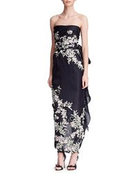 Marchesa | Strapless Embroidered Floral Gown | Lyst