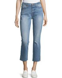 FRAME - Le High Straight-leg Raw-edge Slit Jeans - Lyst