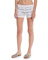 Letarte - Skull-lace Coverup Shorts - Lyst