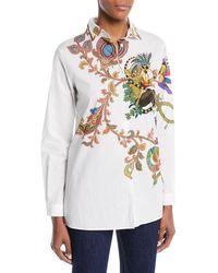 Etro - Lemur-print Button-front Long-sleeve Cotton Shirt - Lyst