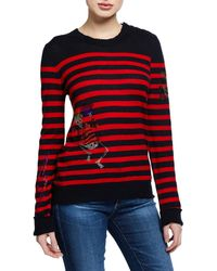 Zadig & Voltaire - Delly Striped Embellished Cashmere Sweater - Lyst