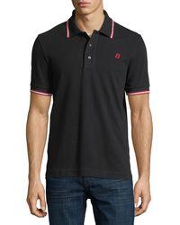 Bally - Striped Cotton Pique Polo Shirt - Lyst