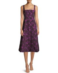 Lela Rose - Square-neck Sleeveless Floral-jacquard Fit-and-flare Dress - Lyst
