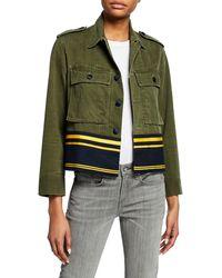 Harvey Faircloth - Cropped Shirt Jacket W/ Border Stripes - Lyst