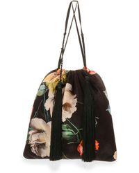 Attico - Printed Floral Velvet Pouch Bag - Lyst