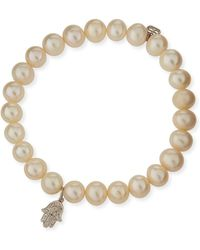 Sydney Evan - Beaded Pearl Bracelet With Diamond Hamsa Charm - Lyst
