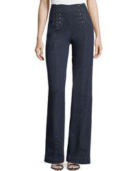 Nanette Lepore - Te Amo Lace-up Boot-cut Jeans - Lyst