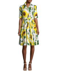 Samantha Sung | Audrey Sunflower-print Shirtdress | Lyst