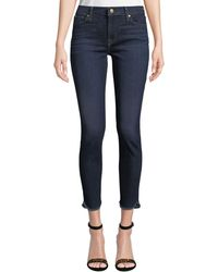7 For All Mankind - Ankle Skinny Jeans With Scalloped Hem - Lyst