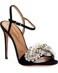 da9f0668dc36 Lyst - Aquazzura Wild Fringed Suede Lace-up Block Heel Pumps in Black