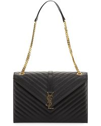 Saint Laurent | Monogram V Flap Envelope Matelasse Shoulder Bag | Lyst