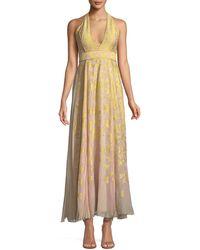 J. Mendel - V-neck Halter Sleeveless Silk Jacquard Gown - Lyst