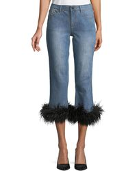 Alice + Olivia - Tasha Cropped Feather-hem Jeans - Lyst