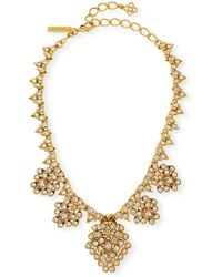 Oscar de la Renta - Teardrop Framed Crystal Statement Necklace - Lyst