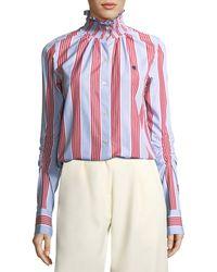 Carven - Smocked Collar Long-sleeve Striped Poplin Shirt - Lyst