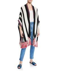 Figue - Odessa-striped Fringe Trim Shawl - Lyst