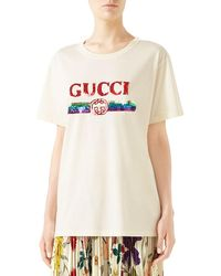 bcd200195 Gucci Snow White & Witch Print Short-sleeve Cotton T-shirt in Natural - Lyst