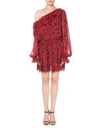 Saint Laurent - One-shoulder Floral-print Silk Georgette Dress - Lyst