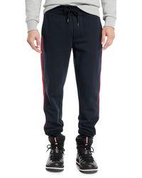 666b9d73a Lyst - Moncler Cotton   Cashmere Drawstring Sweatpants in Blue for Men