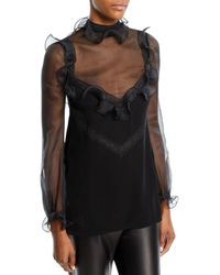 Valentino - Long-sleeve Organza Blouse With Lace Insets & Ruffled Frills - Lyst
