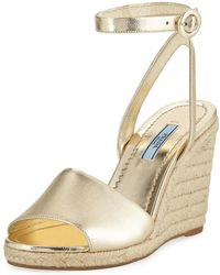 Prada - Metallic Wedge Espadrille Sandals - Lyst